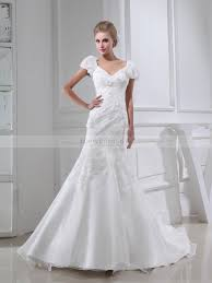 manerva puffed sleeves organza and satin wedding dress with applique