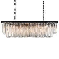 odeon 12 light golden teak fringe rectangular chandelier light