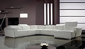 Living Room Sectional Sofa Tempo White Top Grain Italian Leather Living Room