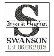 monogram wedding gifts 1 custom monogram cross stitch pattern modern cross stitch