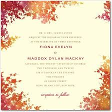autumn wedding invitations autumn wedding invitation wording ideas quality fall season
