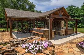 Backyard Oasis Storage And Entertaining Station Poolside Pavilion With Tv Outdoor Fireplace Kitchen Outdoor