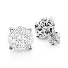 gold earrings studs 3 carat look diamond cluster earrings studs 1 21ct 18k gold