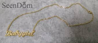baby name plate necklace lovely gift gold color babygirl name necklace stainless steel