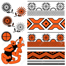 vector of ancient american ornaments with animal and flowers