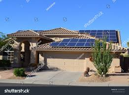 western ranch style house solar panels stock photo 123947059