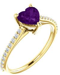 amethyst heart rings images Real purple amethyst heart and diamond ring in yellow gold jpg