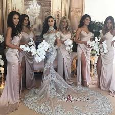 silver luxury lace long sleeve mermaid high neck wedding dresses