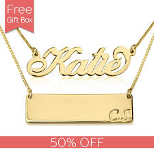 plated name necklace layer it up name necklace bar necklace in gold plated
