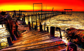 bridges old pier colorful colros fishing cabin afternoon day