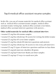 Office Staff Resume Sample by Top 8 Medical Office Assistant Resume Samples 1 638 Jpg Cb U003d1430027478