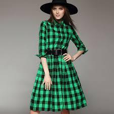 classic clothing 2015 plaid shirt dress autumn clothing for women europe large