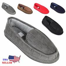 mens house slippers corduroy moccasin slip on men shoes male size picture 1 of 9