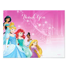 disney princess thank you birthday card zazzle com