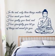 buddha wall decals quote only three things matter yoga gym decor