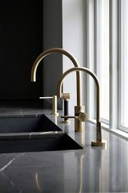 cool kitchen faucet shining grey granite top with curvy brass faucet for cool