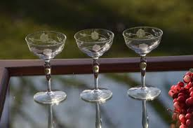 martini liquor vintage etched wine cordials cocktail glasses set of 5 vintage
