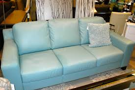 Leather Blue Sofa Light Blue Cushion Placed On Comfortable Blue Leather Sofa At