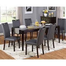 simple living tilo grey faux leather and wengewood 7 piece dining