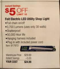 feit 4 u0027 led utility shop light 25 at costco b u0026m starts 1 28