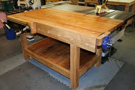 Ideal Woodworking Workbench Height by Workbench Doubles As Table Saw Out Feed Table Why Don U0027t More