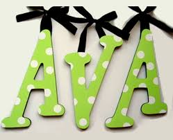 hand painted decorative hanging wood wall letters polka dots
