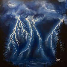 glow in the dark art lightning storm painting sky original art
