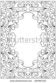 decorative floral frame coloring page stock vector 591897128