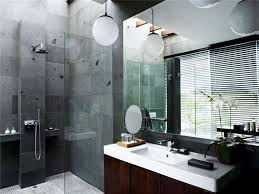 gray natural stone shower wall tile glass partition walls white