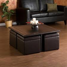 Diy Storage Ottoman Plans Club Coffee Table With 4 Storage Ottomans Chocolate And Beige I