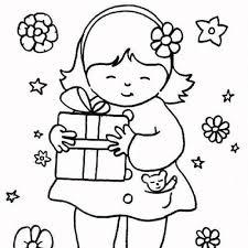 La petite fille et son cadeau en coloriage en ligne ou à imprimer