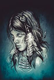 american indian woman tattoo sketch handmade design over vintage