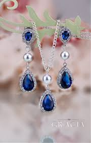 sapphire necklace set images Mariah navy sapphire bridesmair gift blue bridal jewelry set jpg