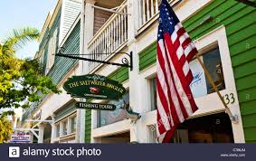 Key West Flag Sports Store With American Flag On Duval Street In Central Key