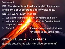 what are lava ls made of december 1 do the students will make a model of a volcano and learn