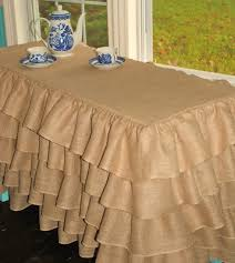 Cheap Table Linens For Rent - ruffled burlap table cloth would really dress up my plain