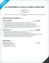 Sales Resume Template Sample Resume For Automobile Sales Executive Automobile Estimator
