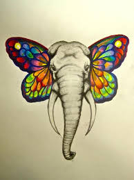 elephant with butterfly ears drawing clipartxtras