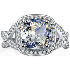 Halo Cushion Engagement Rings Ring 925 Sterling Silver Luxury Cushion Cut Simulated Diamonds Cz