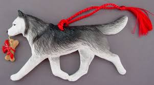 siberian husky ornament at for of a