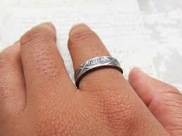 waves and arches wedding band set engraved 14k white gold rings