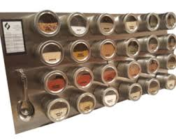 Stainless Steel Wall Spice Rack 24 Tin Magnetic Spice Rack Jars Labels Spoons Stainless
