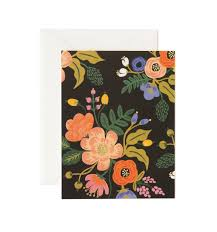 lively floral black greeting card by rifle paper co made in usa