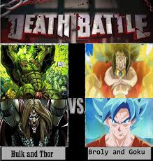Broly Meme - hulk and thor vs broly and goku by keyblademagicdan on deviantart