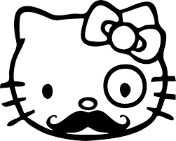cute kitty monocle mustache vinyl decal sticker