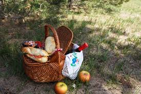 Wine Picnic Baskets Outdoor Picnic At Sunny Day Picnic Basket With Food Fruits And