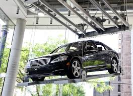 mercedes showroom mercedes benz s550 hanging from the ceiling in the new car