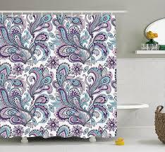 Blue Floral Curtains Curtain Purple Bathroom Curtain Flower Shower Curtains Gray