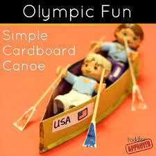 toddler approved olympic fun simple cardboard canoe craft