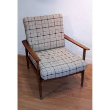 Check Armchair Solid Cherrywood Armchair With A Check Fabric By W Knoll For